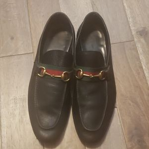 Gucci Web Leather Horsebit Loafer Sz 11D